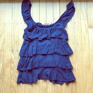 EXPRESS // navy blue ruffle top
